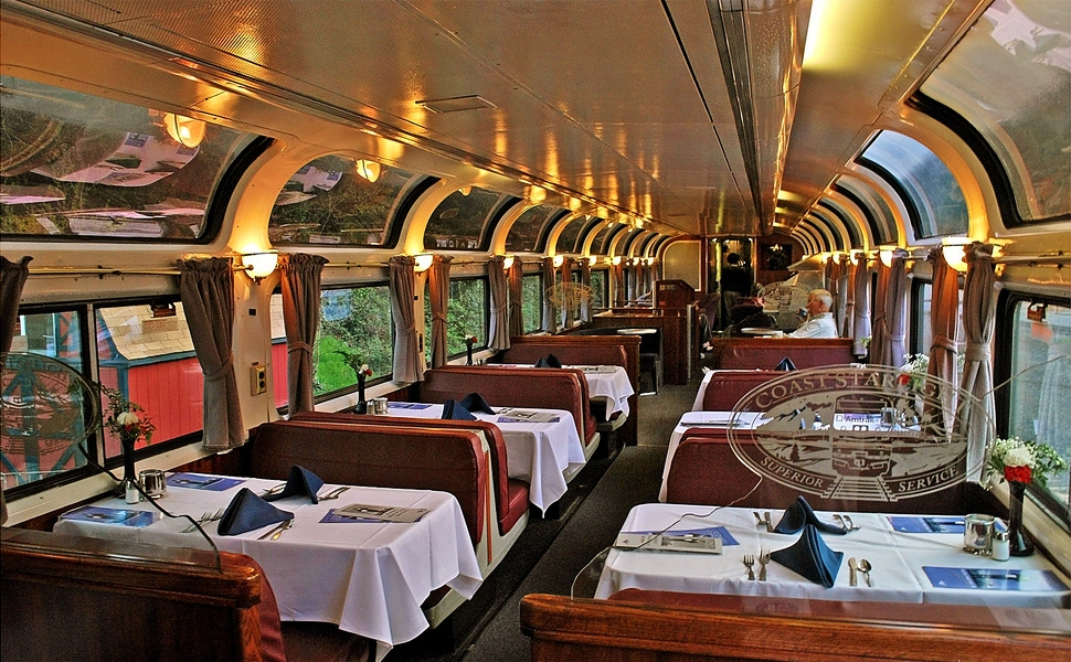 Dinner in the Parlour Car. Who knew train food can be that much better than plane food!