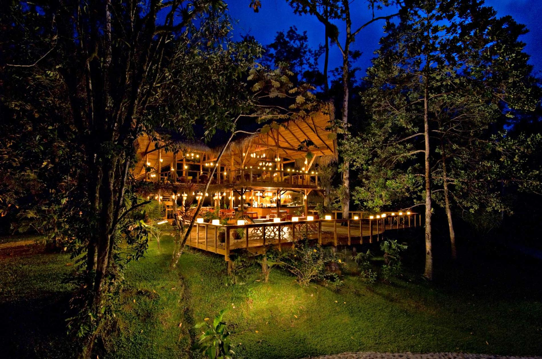Pacuare Lodge illuminated with lanterns. Electricity use is minimal.