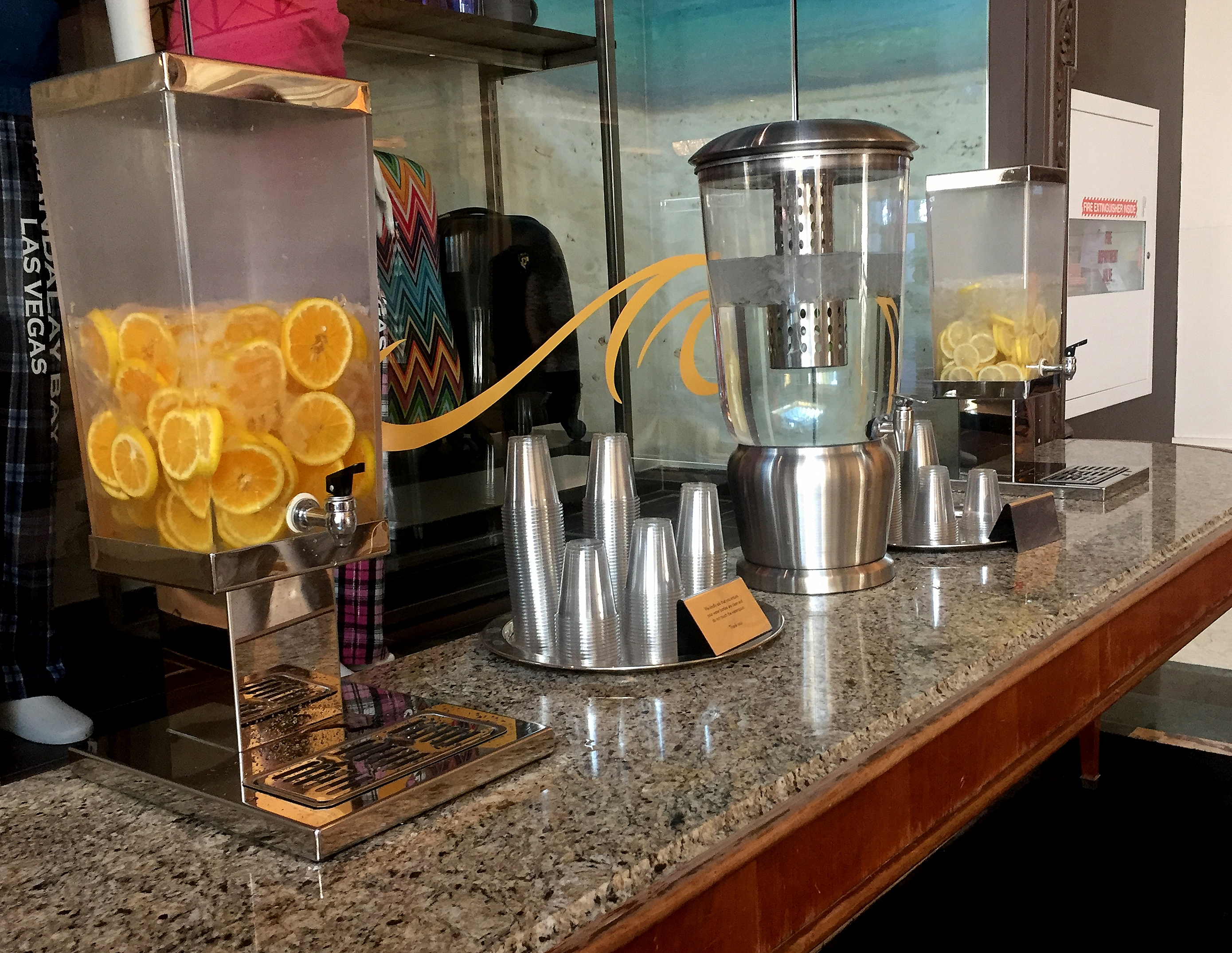 Refill your bottle with infused water at the lobby of Mandalay Bay.