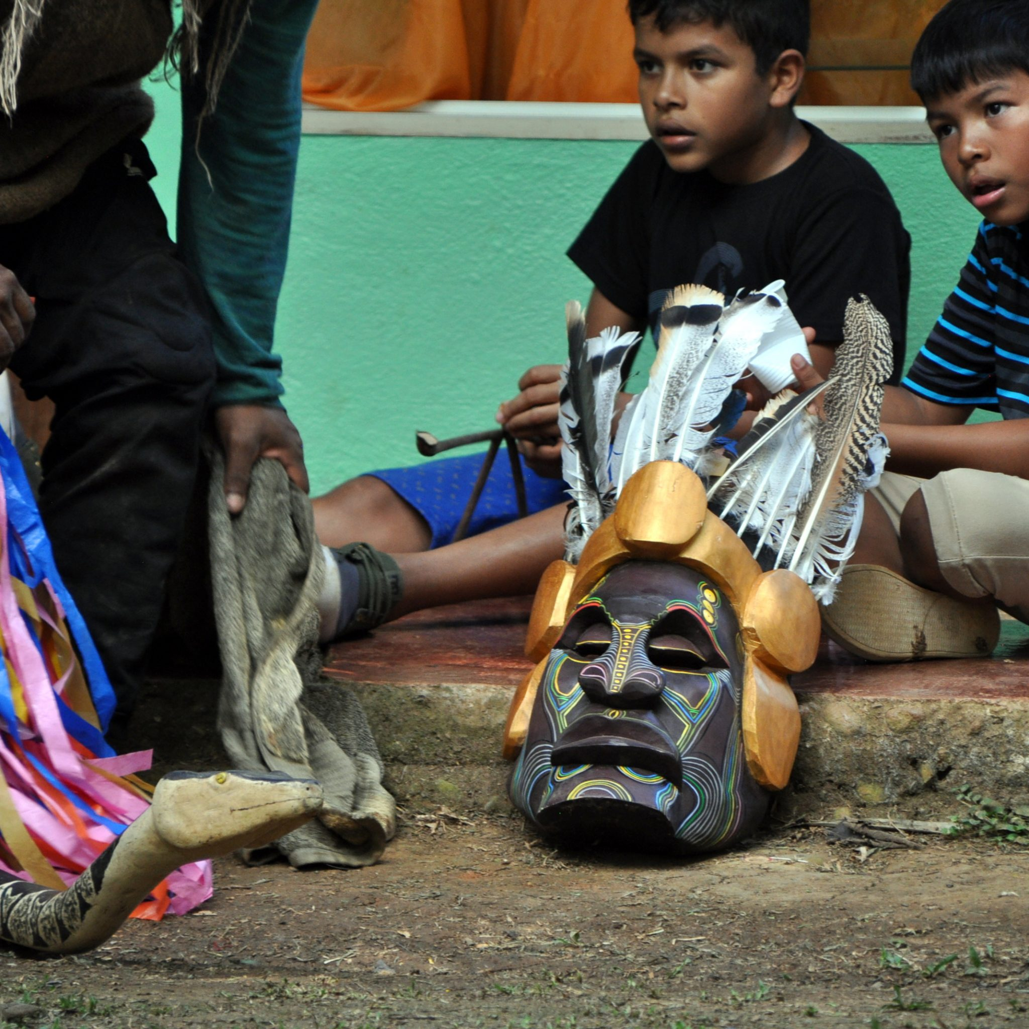 Only men from the village who have made their own masks are permitted to take part in the festival.