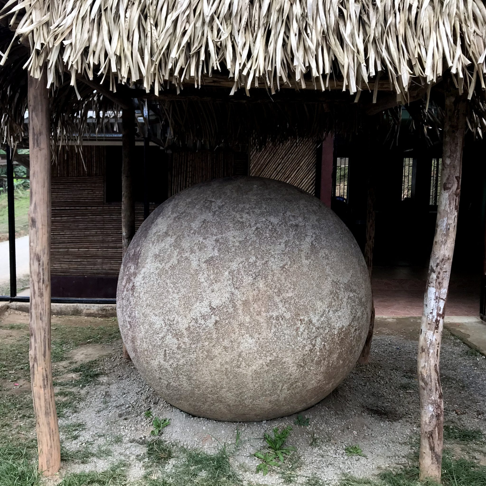 One of Costa Rica's mysterious ancient stone spheres in the heart of the village.